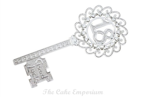 CAKE TOPPER 18th BIRTHDAY KEY LARGE - SILVER