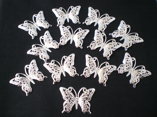 WEDDING SILVER BUTTERFLY CAKE TOPPERS 30mm - 12PK TOPPERS