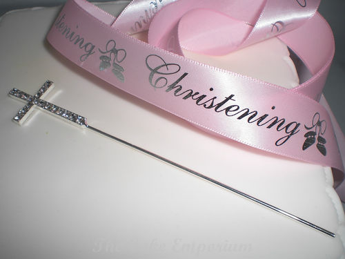 1M PINK CHRISTENING RIBBON WITH DIAMANTE CROSS CAKE TOPPER
