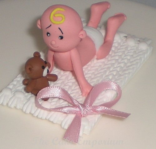 Claydough Christening / New Baby - Baby on Blanket Cake Decoration Topper (Pink)