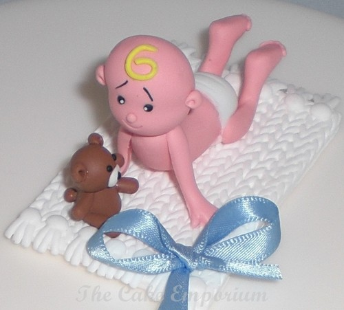 Claydough Christening / New Baby - Baby on Blanket Cake Decoration Topper (Blue)
