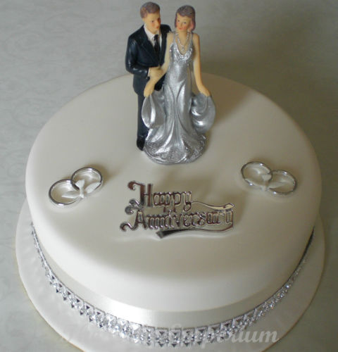 25th Silver Wedding Anniversary Cake Topper 11cm Diamante Ribbon Pack (Standing Together)