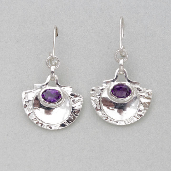 Silver oval Amethyst earrings