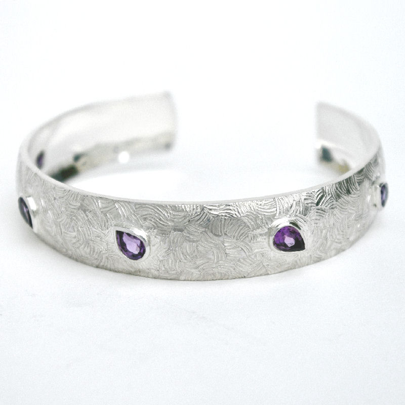 Pear amethyst cuff bangle