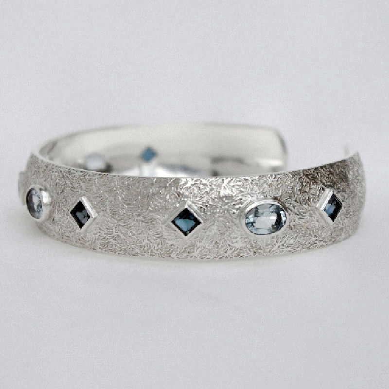 Aquamarine and blue topaz cuff bangle