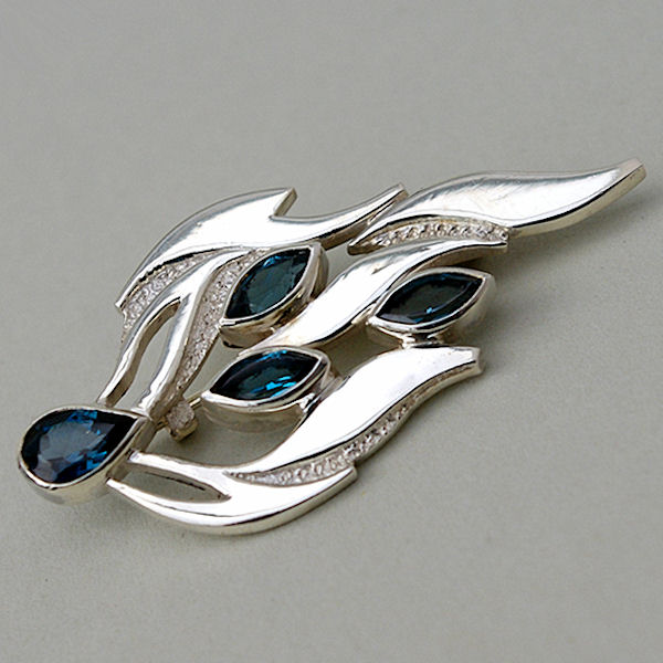 London blue topaz brooch