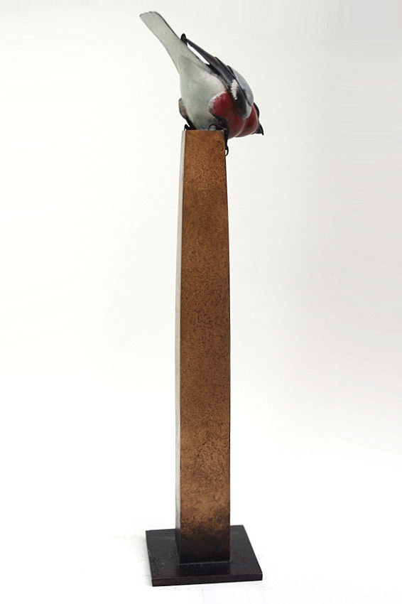Bronze bullfinch sculpture