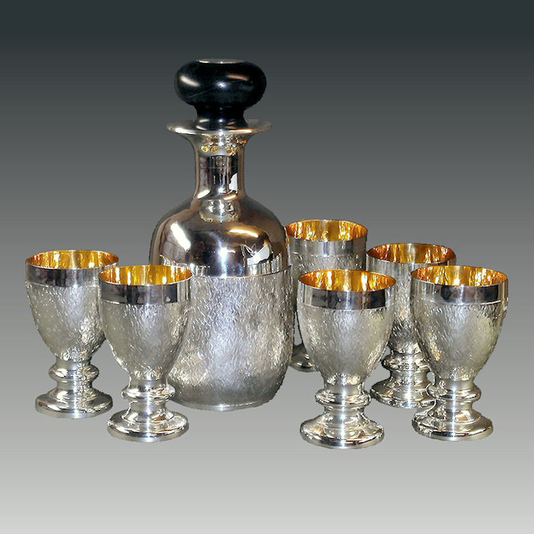 Silver Decanter and goblets