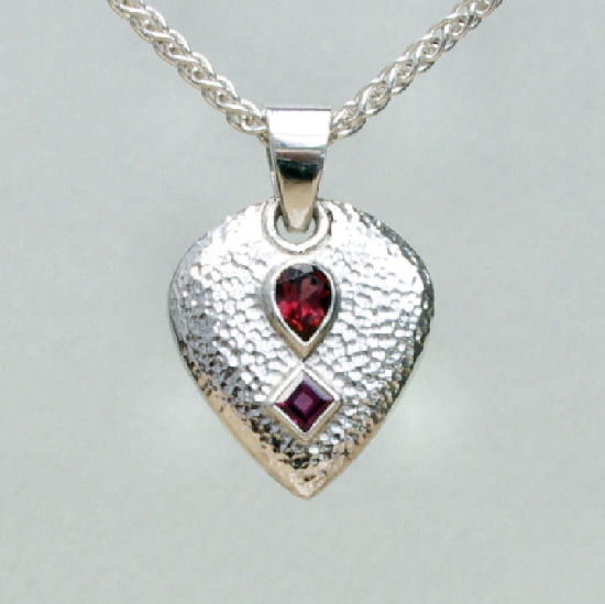 Garnet pendant pear and square