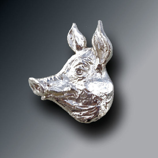 Silver Piggy Brooch