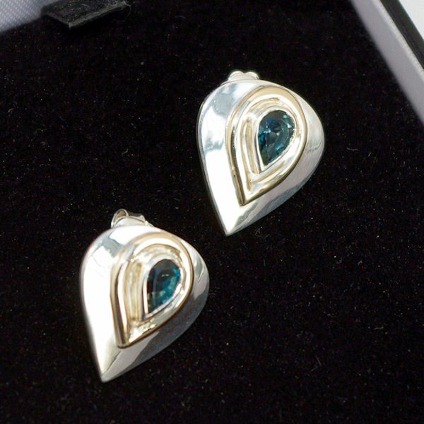 Blue topaz studs boxed