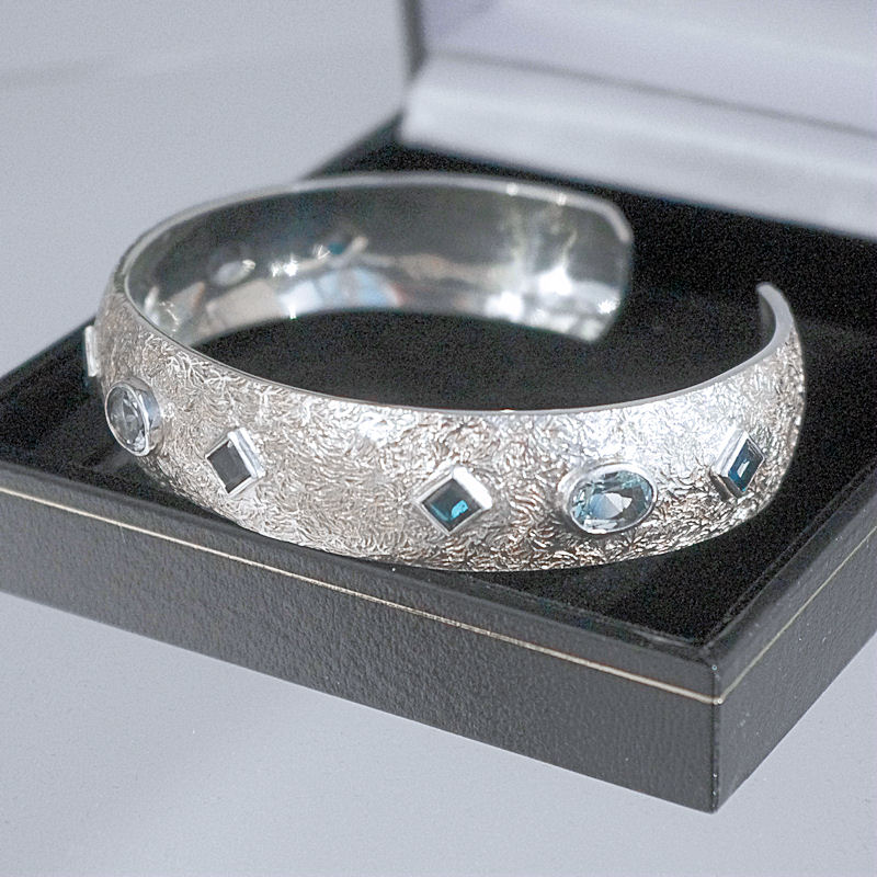 Blue topaz cuff bangle