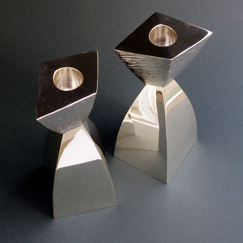 contemporary silver candlesticks