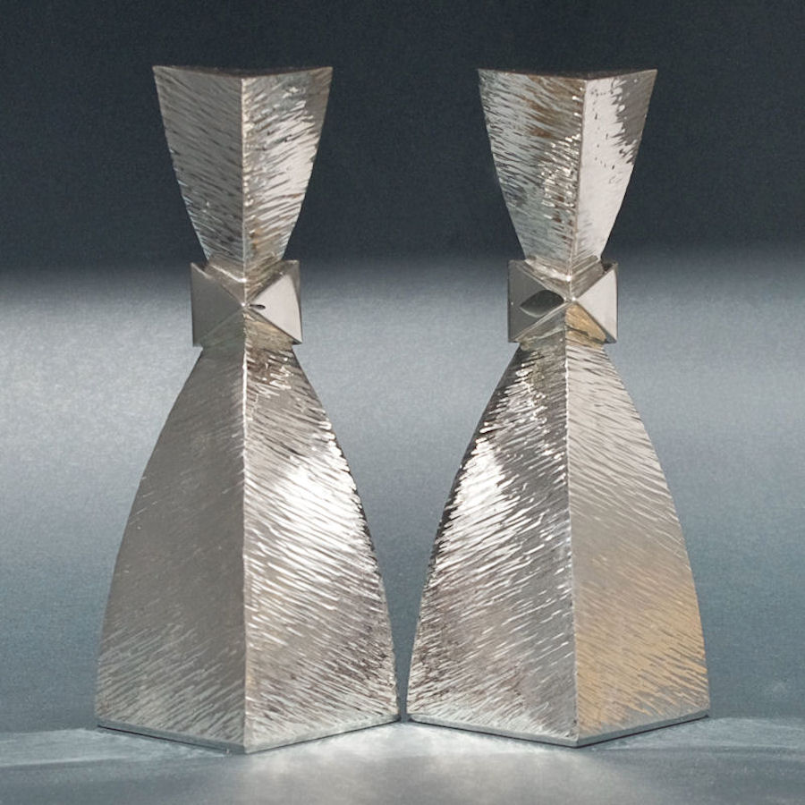 Textured silver candle holders