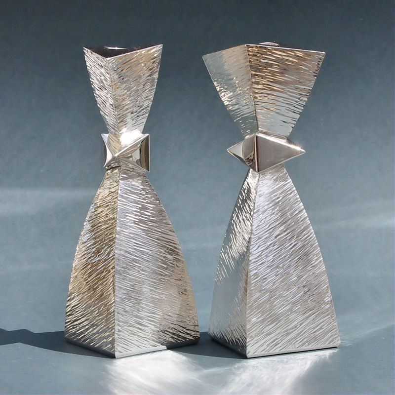 Contemporary silver textured candlesticks