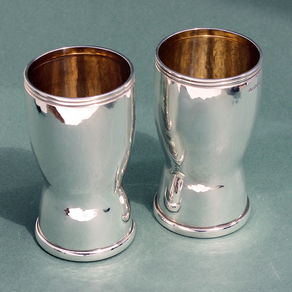 contemporary silver beakers