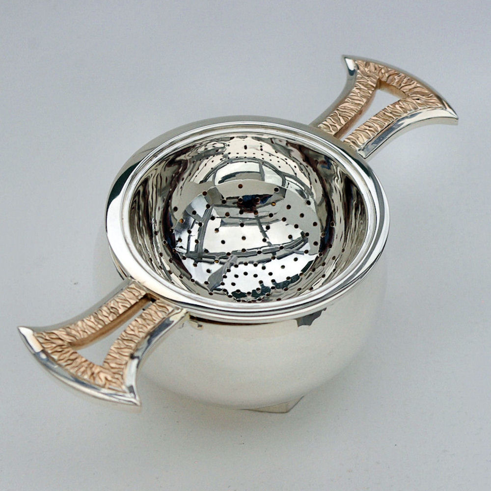 contemporary silver Tea strainer