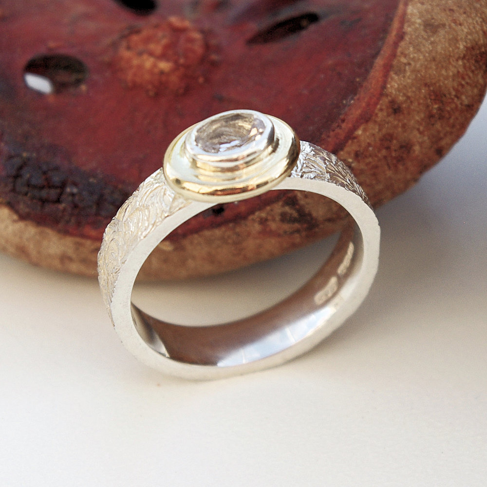 Morganite silver and gold ring