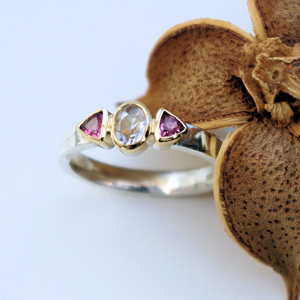 Morganite and pink topaz ringImage description