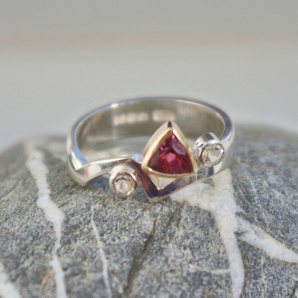 Pink tourmaline and Topaz ring