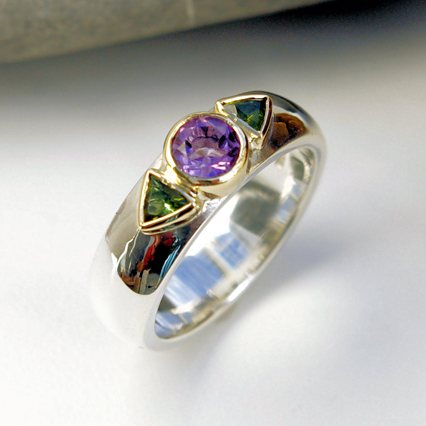 Amethyst & tourmaline ring