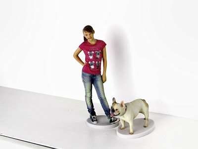 3D twin of girl with dog