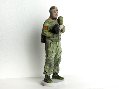 3d printed man in military outfit with Paintball