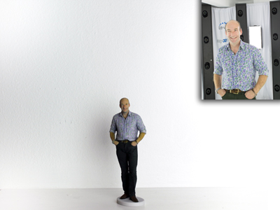 my3Dtwin of a man in a shirt with flowers pattern