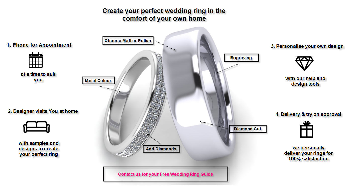bespoke wedding rings, diamond set wedding rings, wedding rings