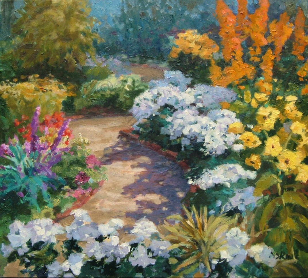 Paintings garden path for Garden painting images