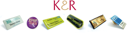 badges, K and R badges, K & R Badges, promotions, personalised name badges, identification
