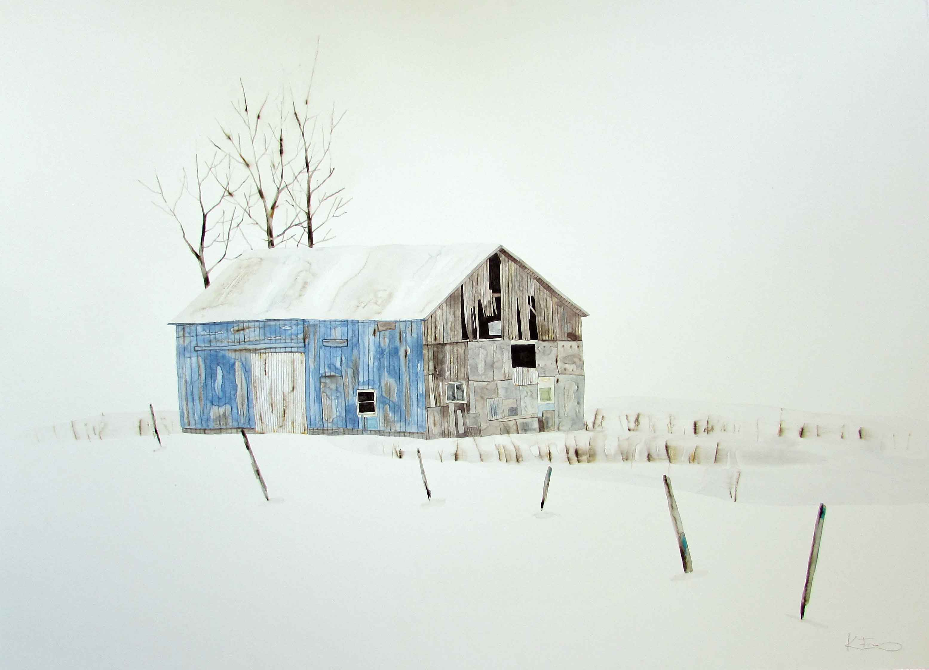 Blue Farm with Trees by Kate Evans
