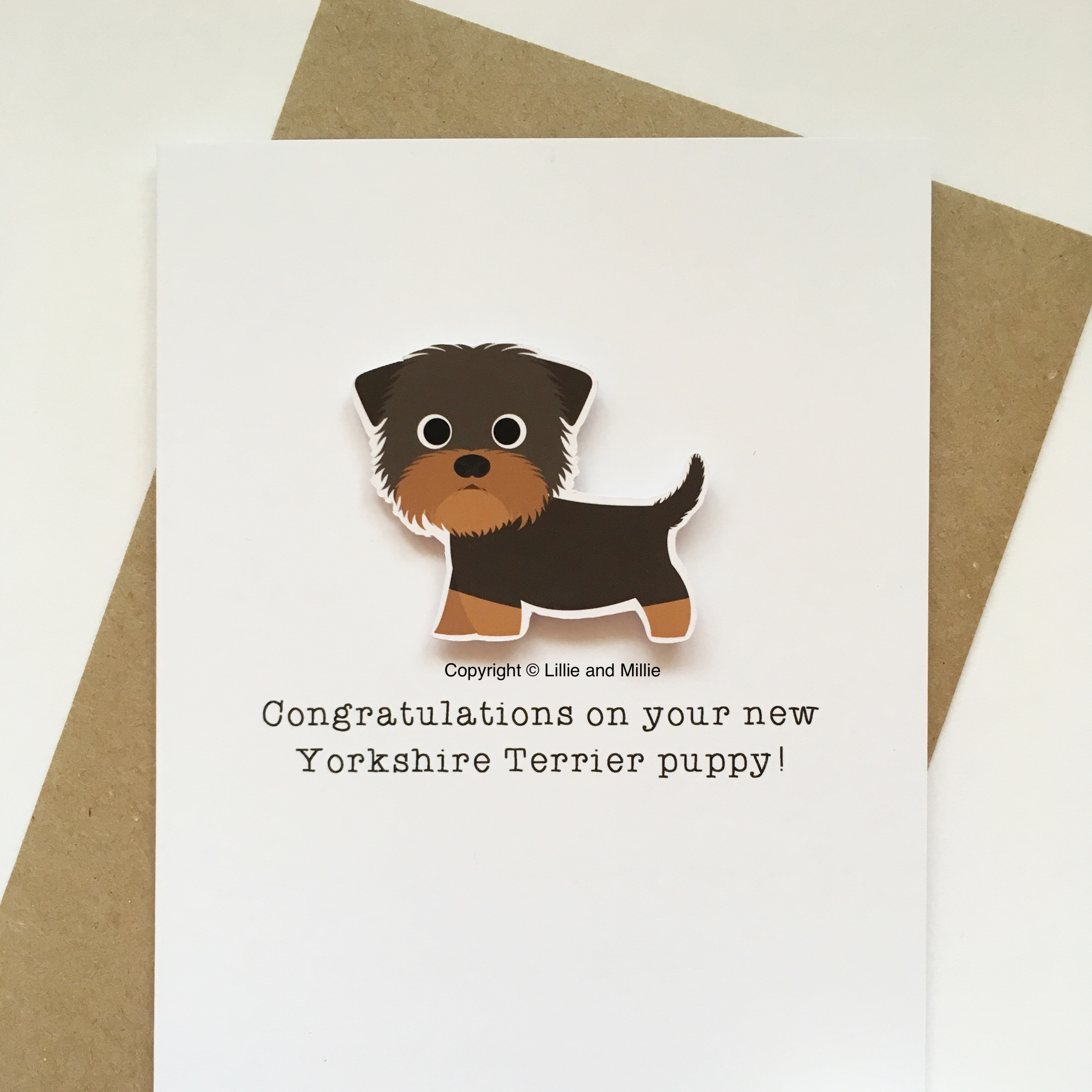 Cute and Cuddly Yorkshire Terrier Congratulations Puppy Card