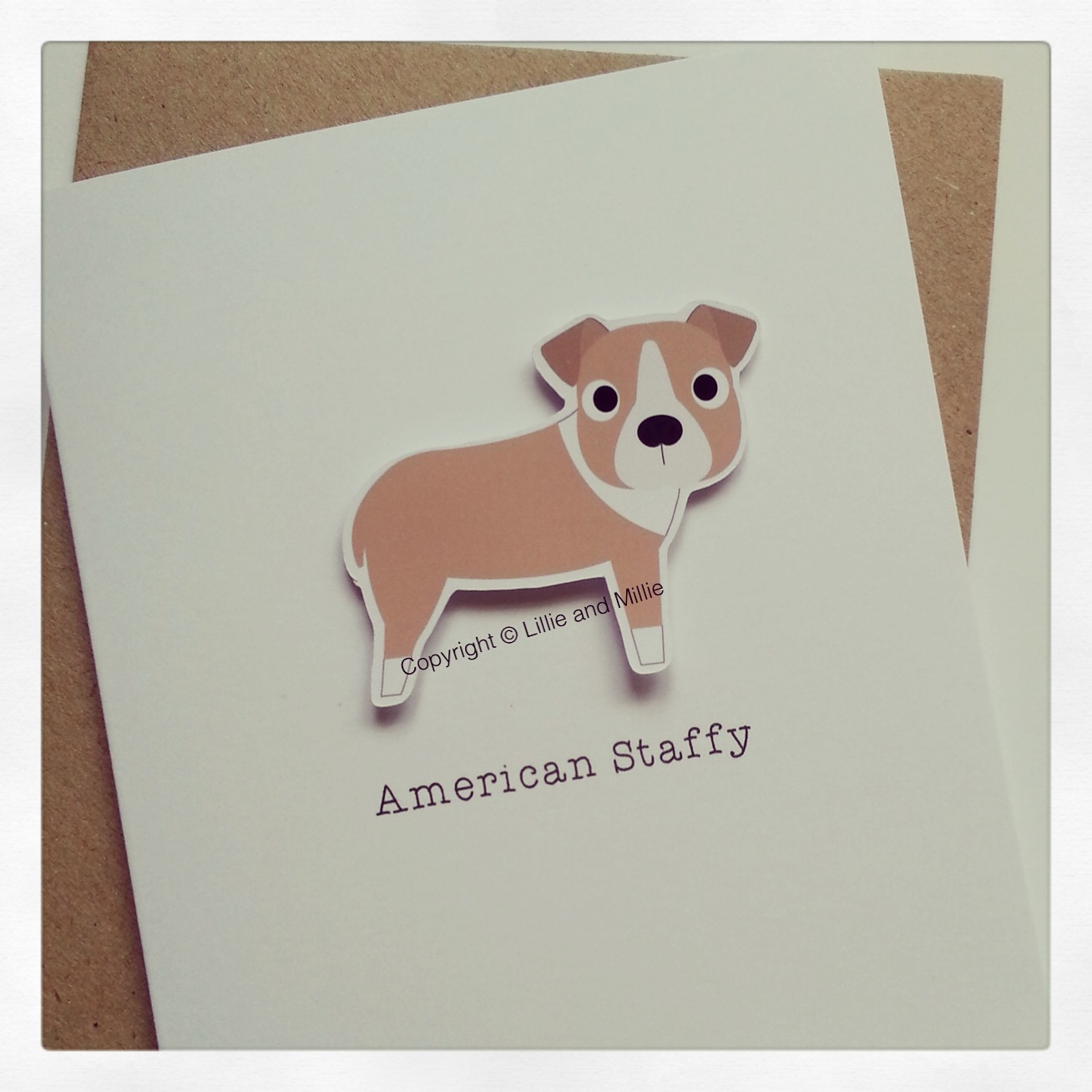 Cute and Cuddly Fawn American Staffy Card