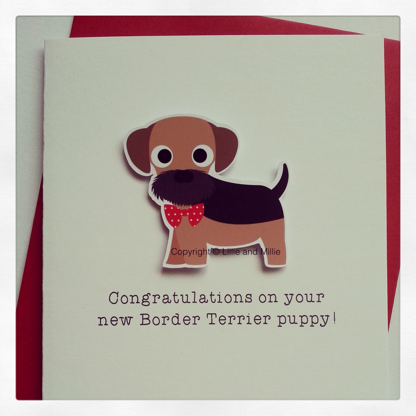 Cute and Cuddly Border Terrier Red Bow Congratulations Puppy Card