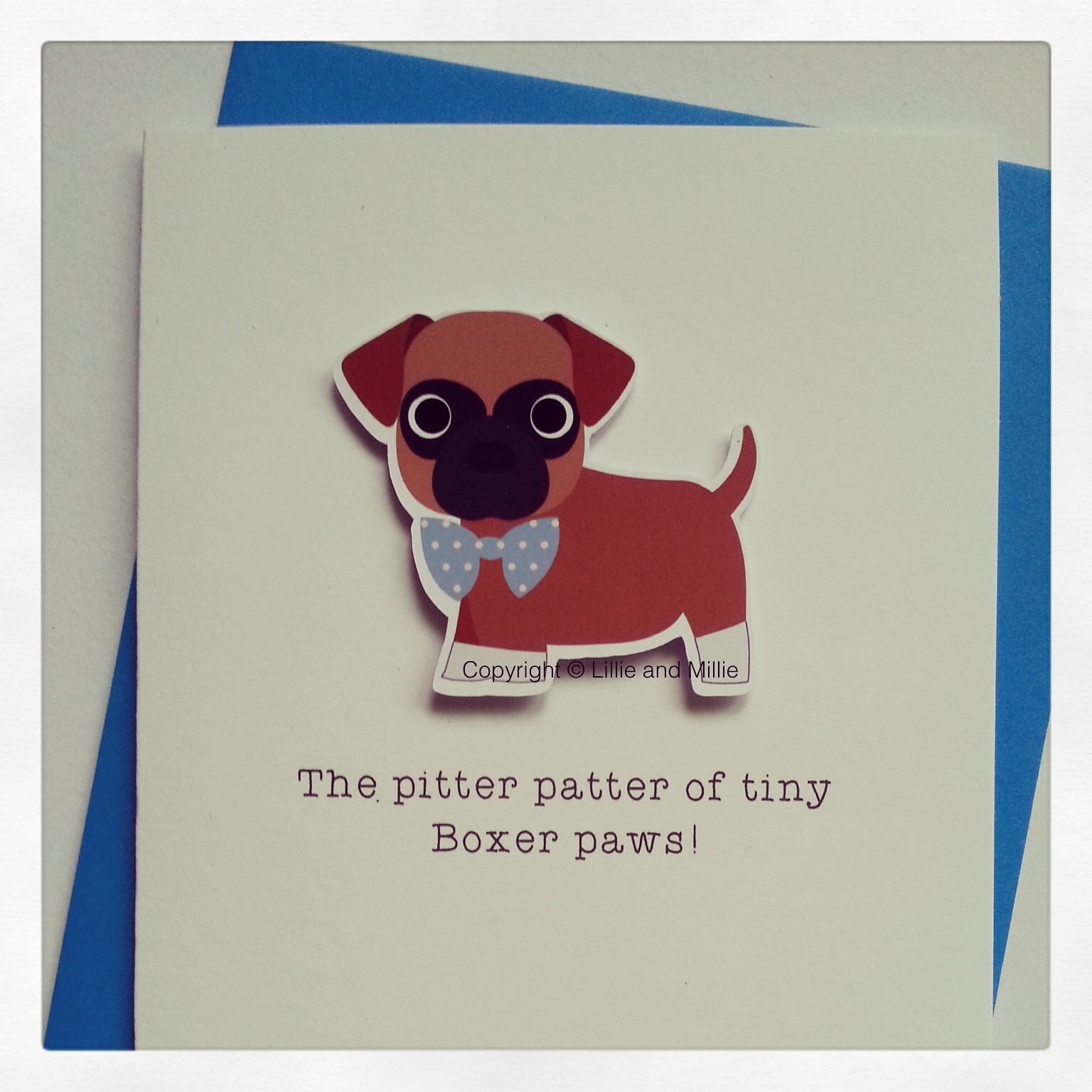 Cute and Cuddly Boxer Blue Bow Pitter Patter Puppy Card