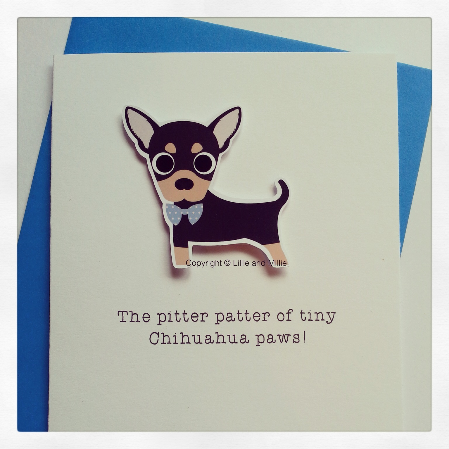 Cute and Cuddly Chihuahua Blue Bow Pitter Patter Card