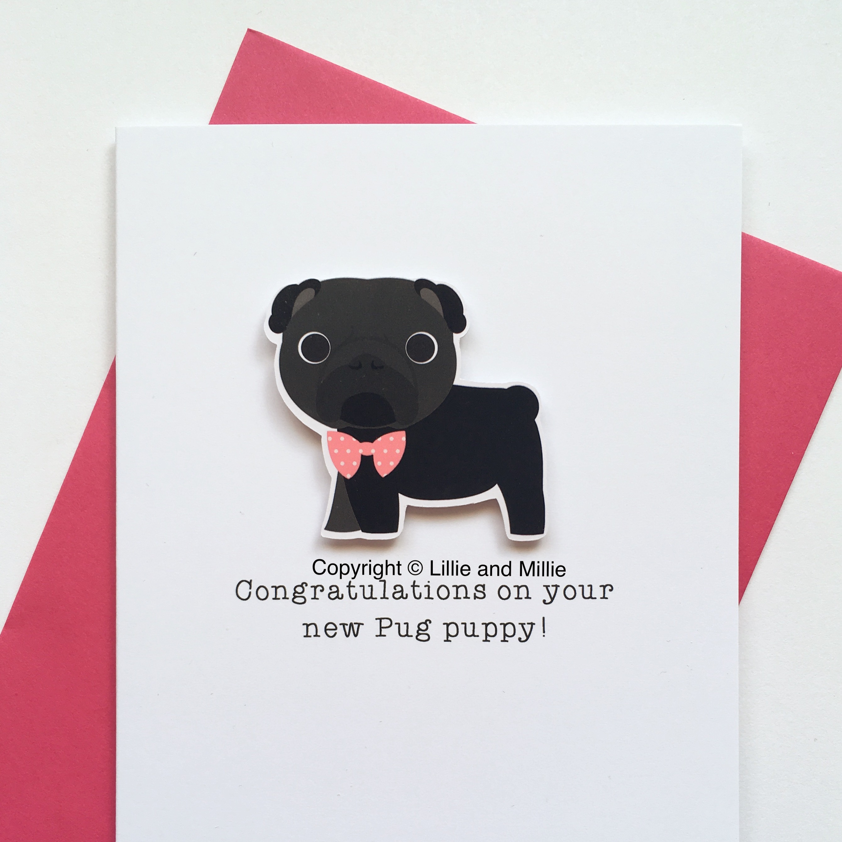 Cute and Cuddly Black Pug Pink Bow Congratulations Puppy Card