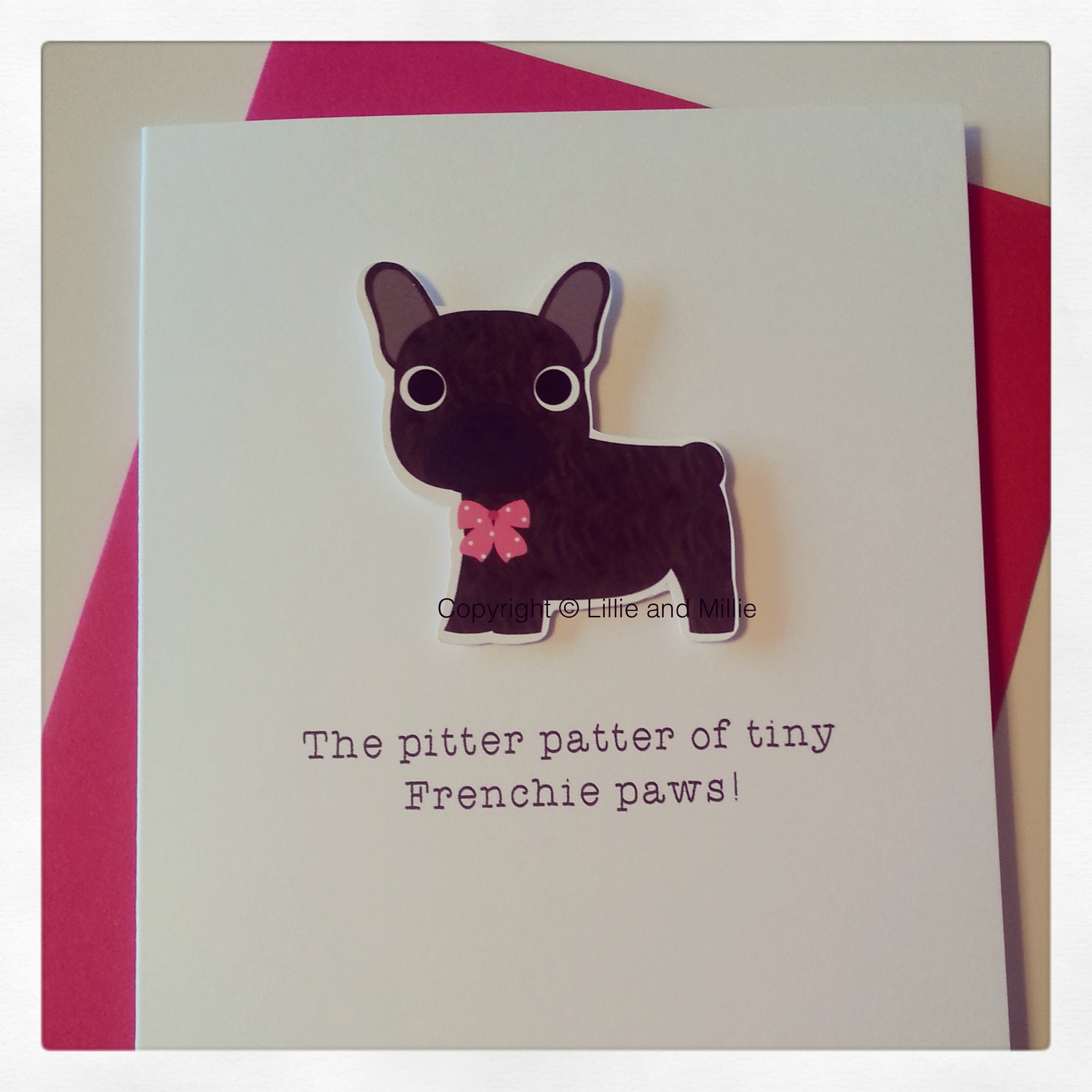 Cute and Cuddly Brindle French Bulldog Pink Bow Pitter Patter Puppy Card