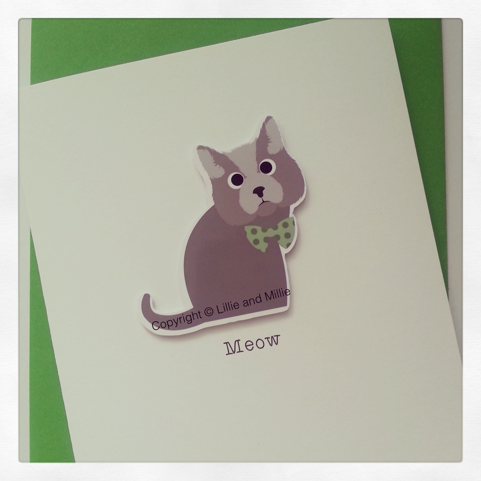 Cute and Cuddly Grey Cat Greetings Card