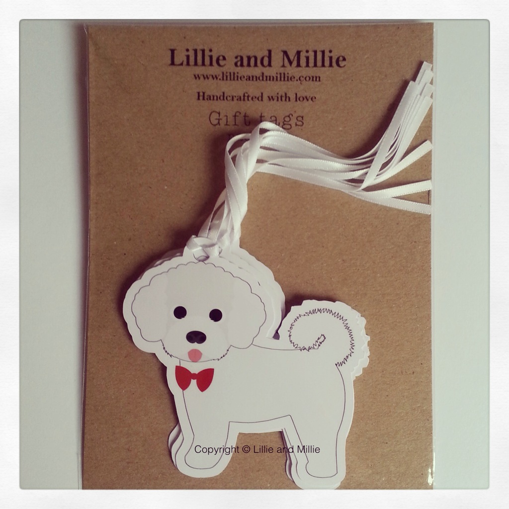 Precious Pooch Bichon Frise Bow Tie and Tongue Gift Tags