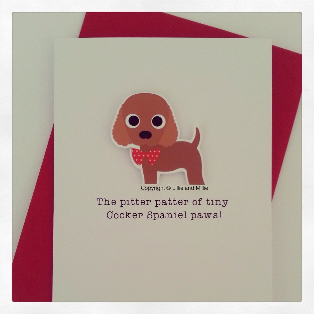 Cute and Cuddly Cocker Spaniel Pitter Patter Card
