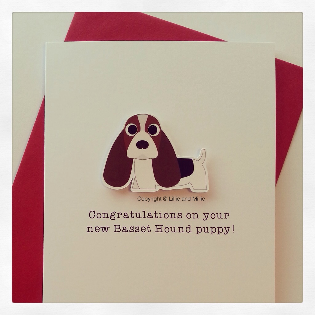Cute and Cuddly Tri Basset Hound Congratulations Puppy Card