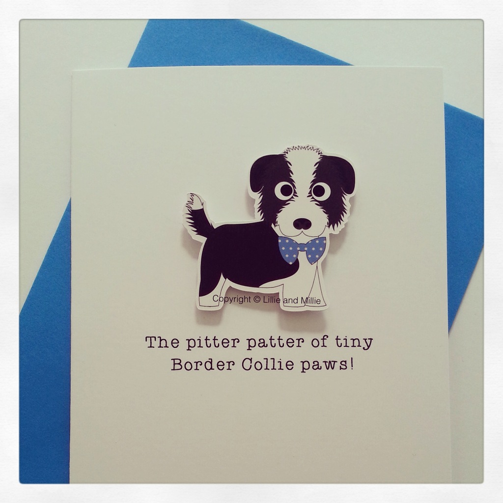 Cute and Cuddly Border Collie Blue Bow Pitter Patter Puppy Card