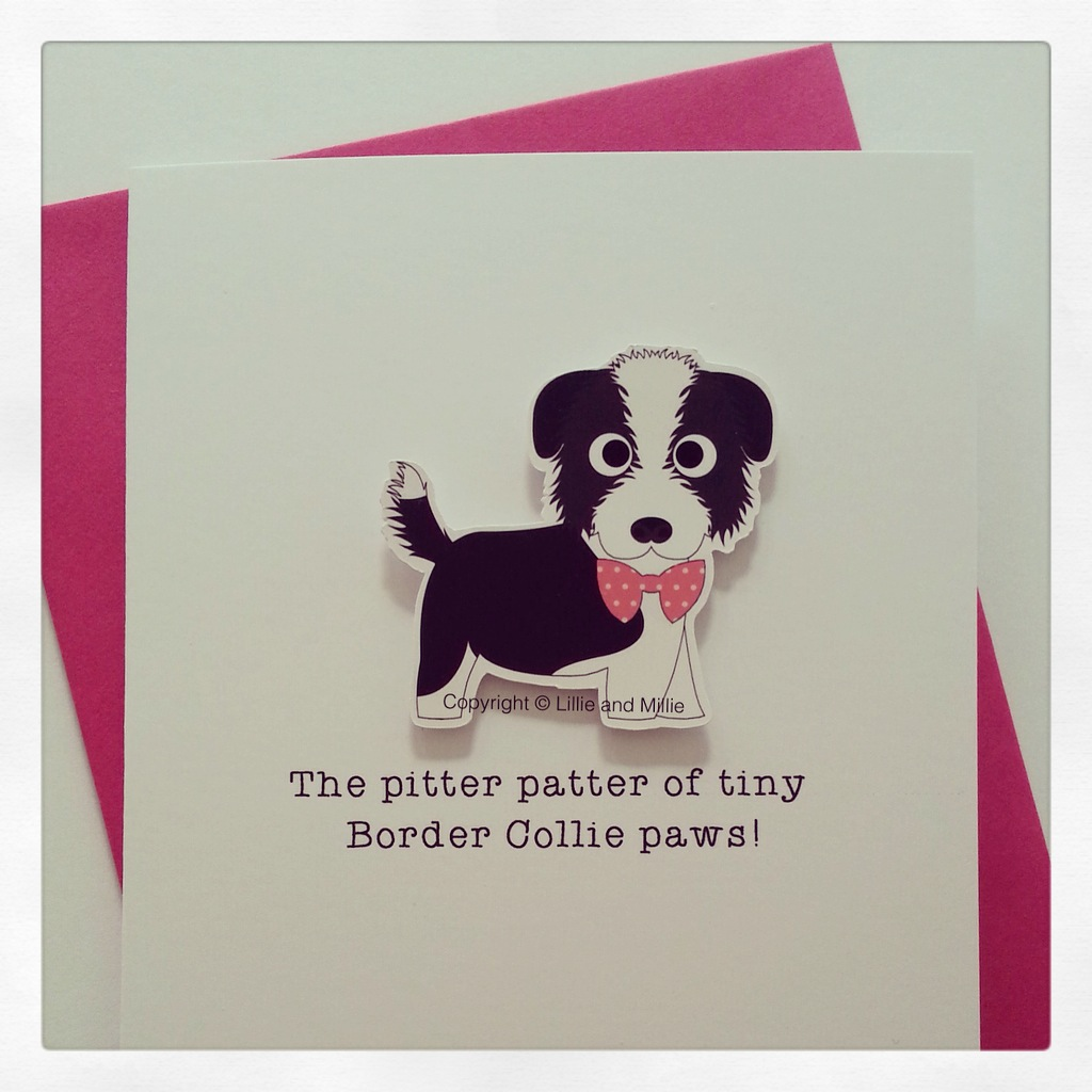 Cute and cuddly Border Collie Pink Bow Pitter Patter Puppy Card