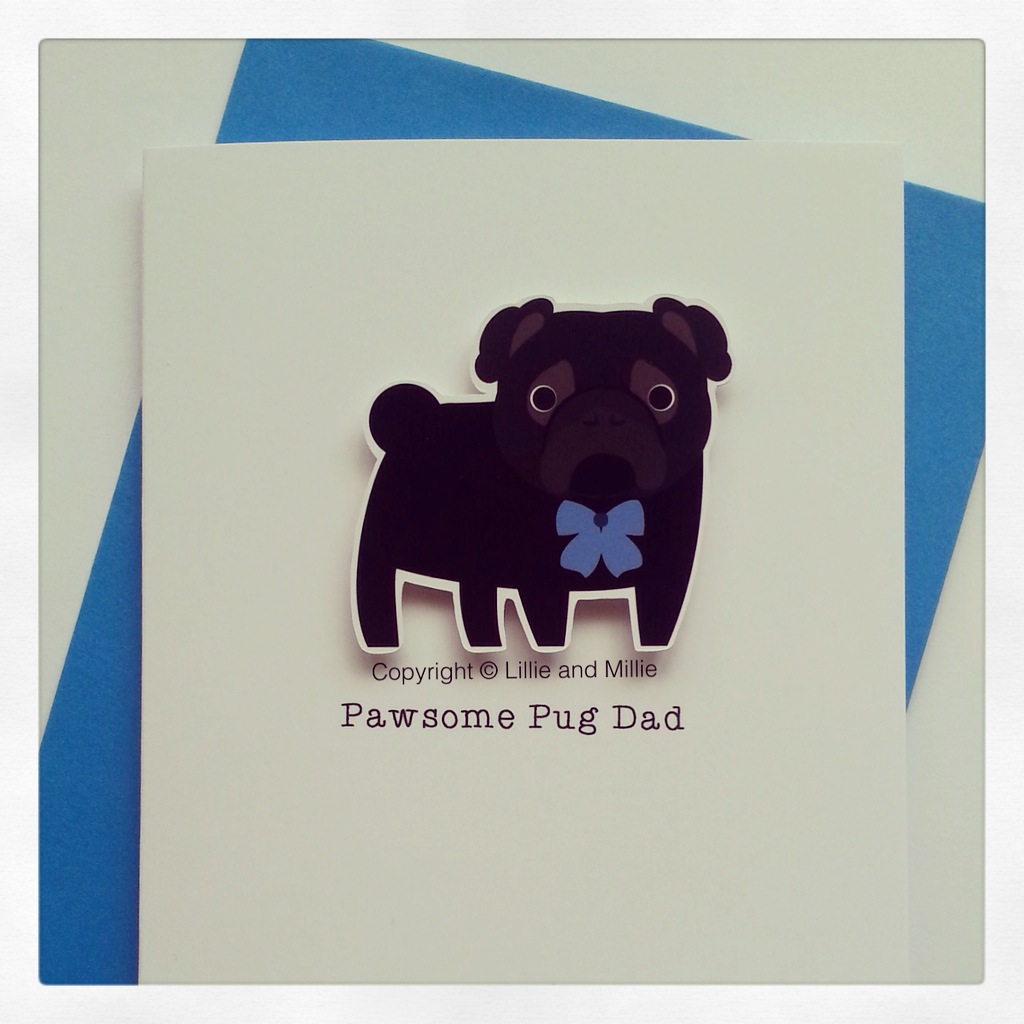 Cute and Cuddly Black Pawsome Pug Dad Card