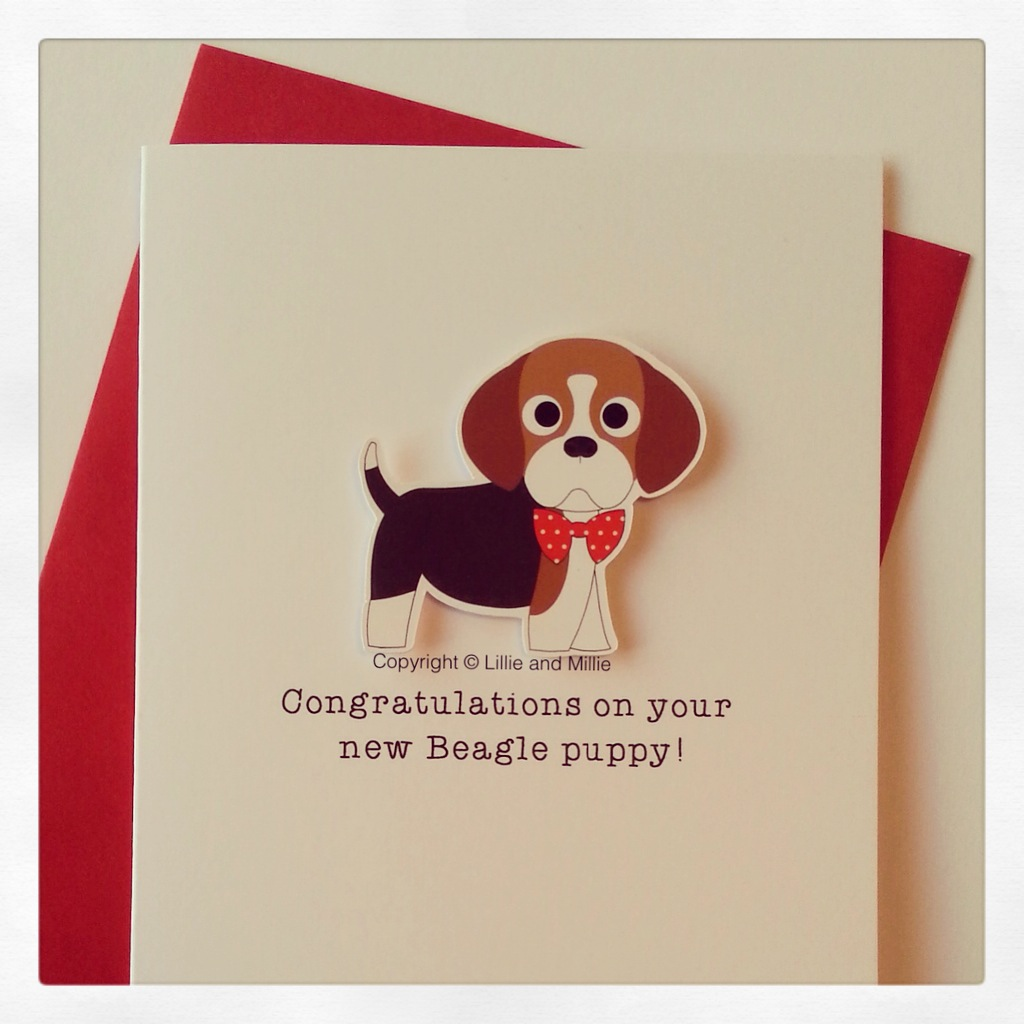 Cute and Cuddly Beagle Red Bow Congratulations Puppy Card