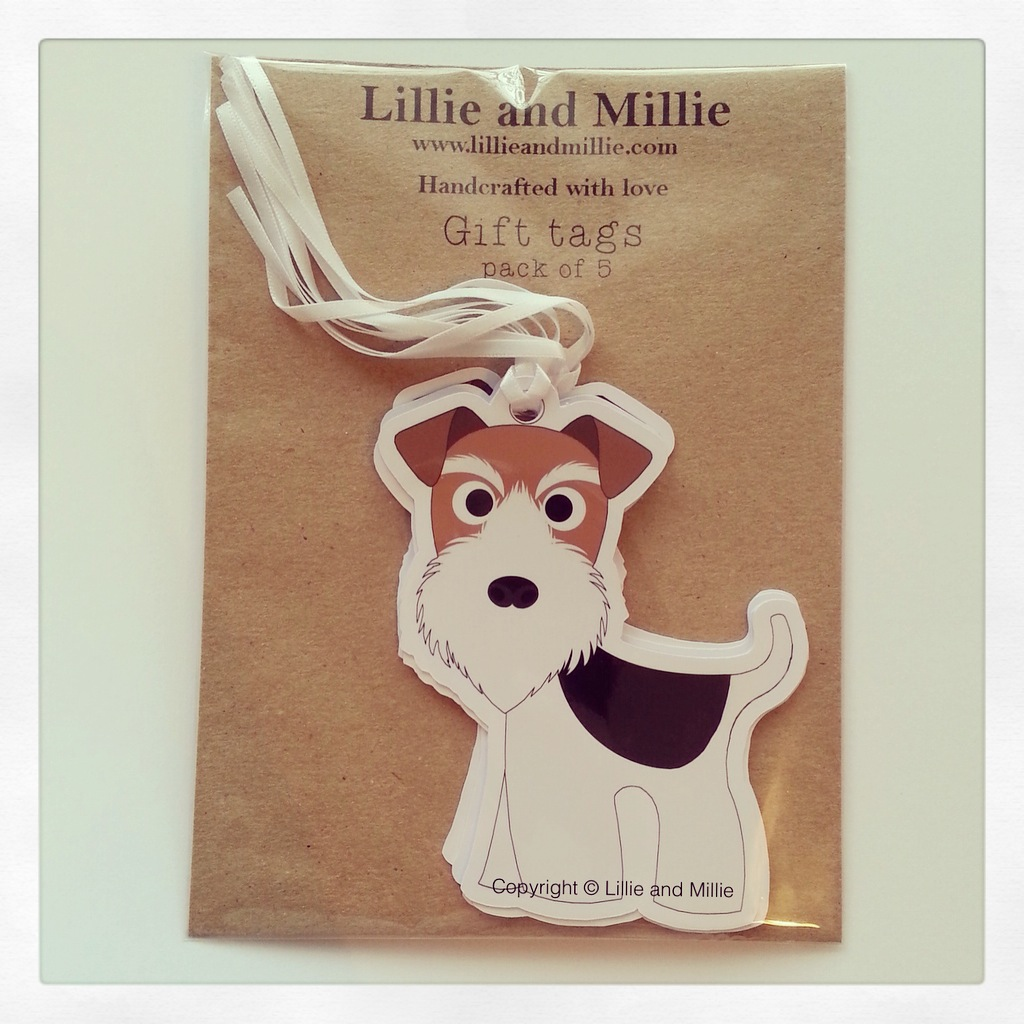 Cute and Cuddly Ginger and Black Wire Fox Terrier Gift Tags