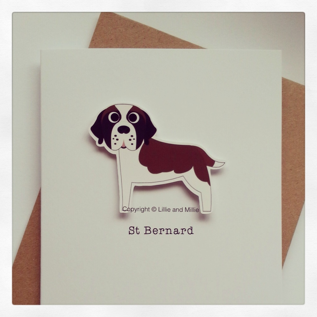 Precious Pooch Red and White St Bernard Card
