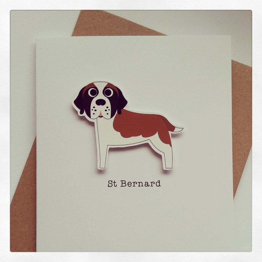 Precious Pooch Orange and White St Bernard Card